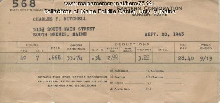 Eastern Fine pay stub, Brewer 1943