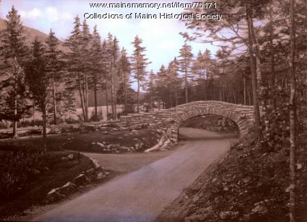 Bubble Pond stone bridge, Bar Harbor, ca. 1940
