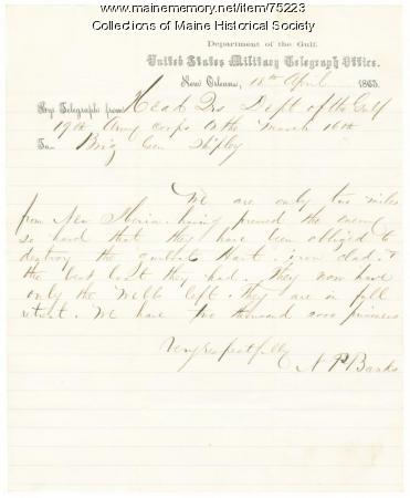 Gen. Banks telegram on Confederates loss of boat, Louisiana, 1863