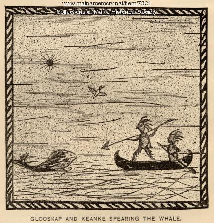 Glooskap and Keanke spearing the whale