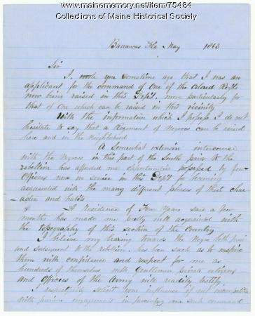 Capt. Joyce letter on black troops, 1863