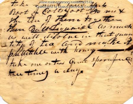 Medical recipe, late 1700s