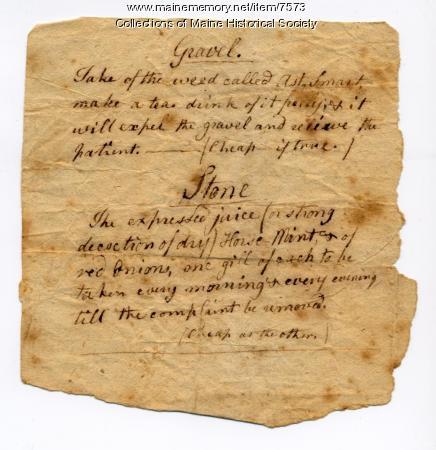Medical recipe, ca. 1790