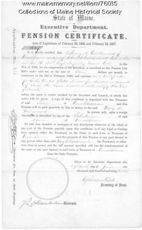 Calderwood pension certificate, Augusta, 1867