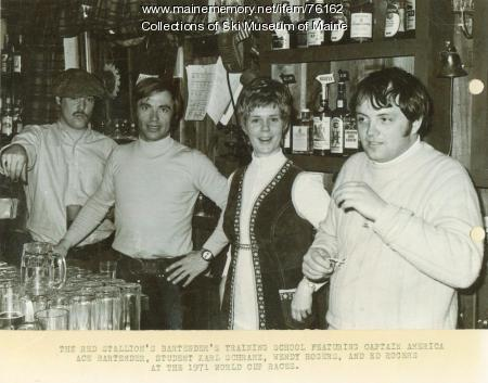 Bartender school at the Red Stallion Inn, Sugarloaf, 1971
