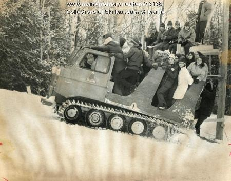 Riding the snowcat, Sugarloaf, 1971