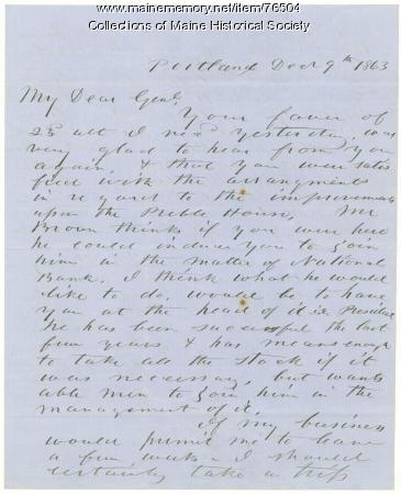 H. Jose to Brig. Gen. Shepley on Portland business, 1863