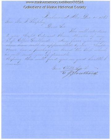 Letter of introduction for ship captain, Richmond, 1863