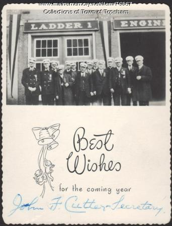 Muster committee New Year postcard, 1927