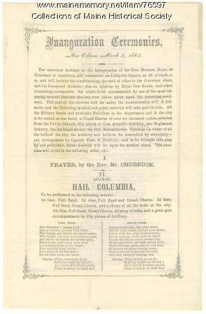 Program for Louisiana inauguration, 1864