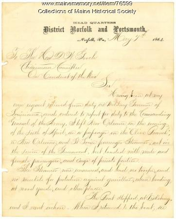 Brig. Gen. Shepley reply to charges, Norfolk, Va., 1864