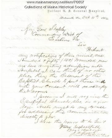 Letter on hospital space shortage, Portsmouth, Va., 1864
