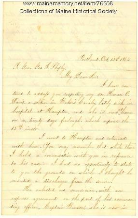 Mary Davis request for son's discharge, Portland, 1864