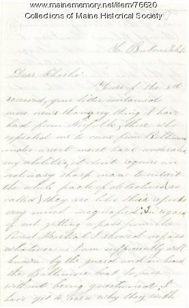 Letter concerning charges against Gen. G. F. Shepley, 1865