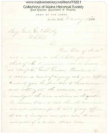 Gen. E.O.C. Ord reply to Gen. Shepley on inquiry, Virginia, 1865