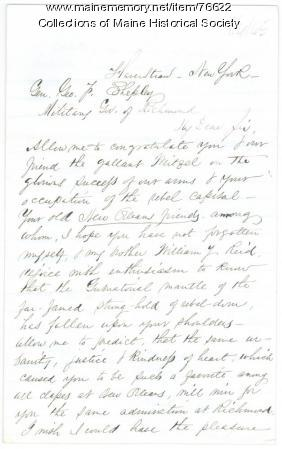 Request for Gen. Shepley to find relative, Richmond, Va., 1865