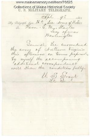 Copy of Grant telegraph on Lee surrender, 1865