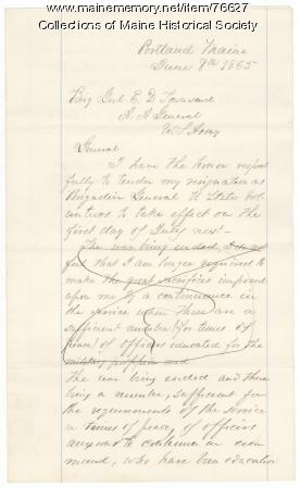 Draft of Gen. Shepley resignation, Portland, 1865