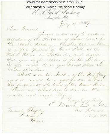 Naval Academy request for Preble portrait, 1867