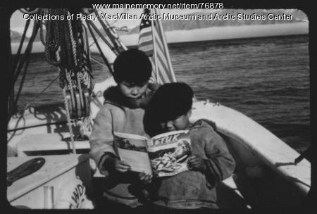 Inuit boys aboard schooner 'Bowdoin,' 1949
