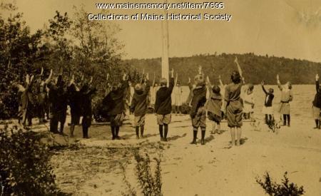 Flag salute at nutrition camp, Casco, Maine 1925