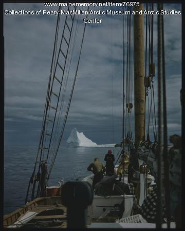 Sailors watching iceberg from 'Bowdoin,' 1947