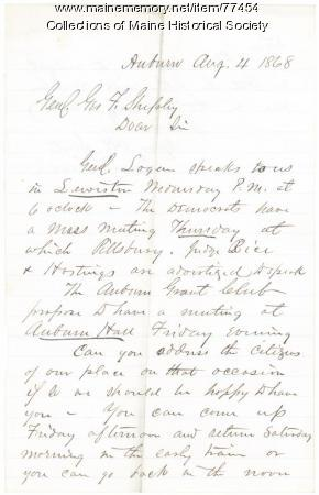 Request for G.F. Shepley speech in Lewiston, 1868