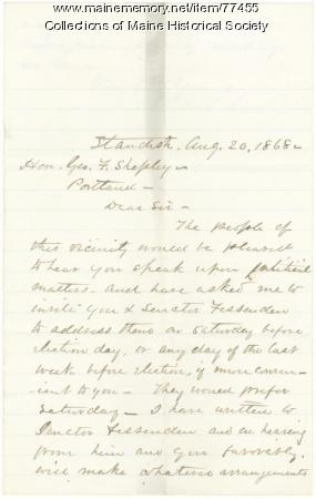 Request for G.F. Shepley speech in Standish, 1868