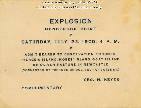 Explosion Ticket, Kittery, 1905