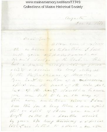 Cony letter congratulating G.F. Shepley, Augusta, 1869