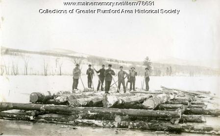 Boom pier construction, Rumford, 1893