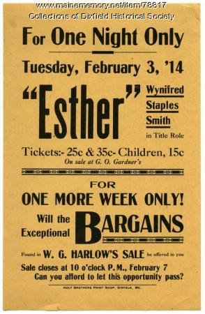 Opera House Play Announcement, Dixfield, 1914