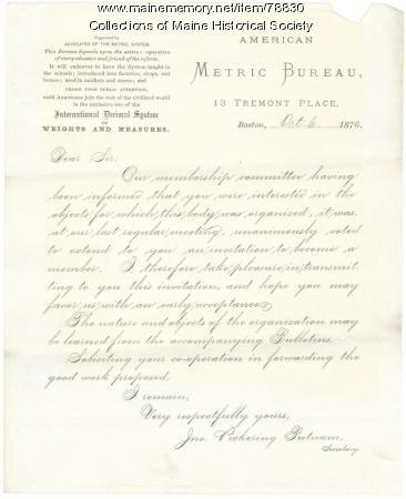 G.F. Shepley acceptance to American Metric Bureau, 1876