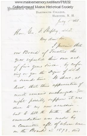 S.C. Bartlett to G.F. Shepley on honorary degree, 1878