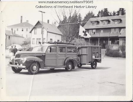 Red Cross Car and Trailer, Main Street, Northeast Harbor, 1947