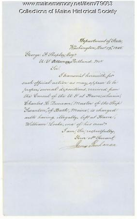 Pres. Buchanan letter about Bath ship, Washington, 1848