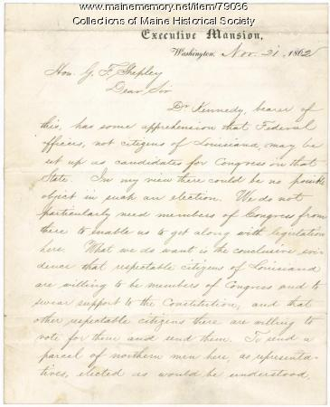 Lincoln letter on Louisiana elections, Washington, 1862