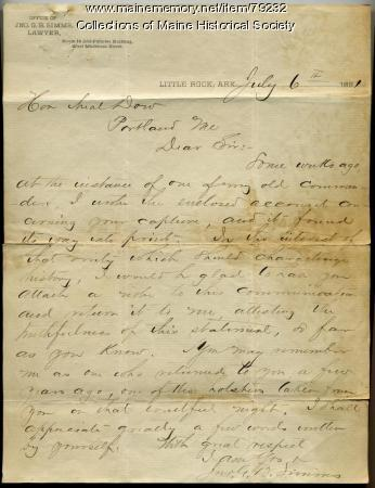 Former Confederate letter to Neal Dow, Arkansas, 1891