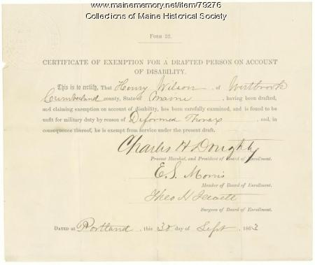 Exemption from military service, Westbrook, 1863