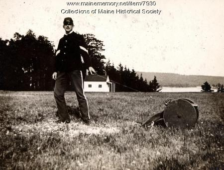 Portland High School cadet, Harpswell, 1896