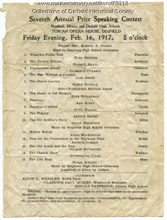Seventh Annual Prize Speaking Contest Program, Dixfield, 1917