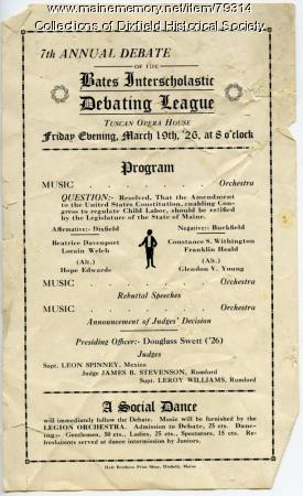 Bates Debating League annual debate program, Dixfield, 1926