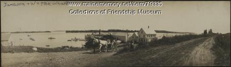 Horse-drawn carriage leaving the Jameson & Wotton Wharf, ca. 1910