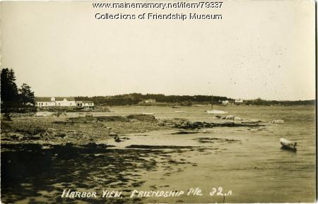 Harbor view at low tide, Friendship, ca. 1920