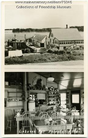 Exterior and interior of the Lobster Pot restaurant, Friendship, ca. 1948