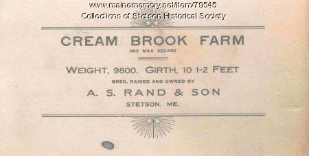 Cream Brook Farm Calling Card, ca. 1907