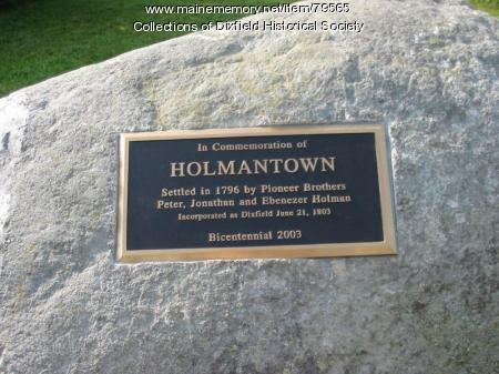 Holmantown Memorial Plaque, Dixfield, 2003