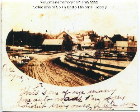 A view of South Bristol village from the mainland, ca. 1910