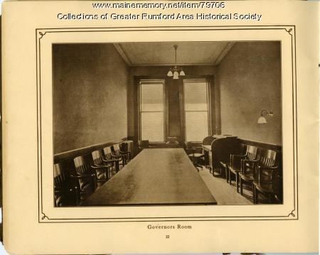 Governor's Room of the Mechanics Institute, Rumford, 1911