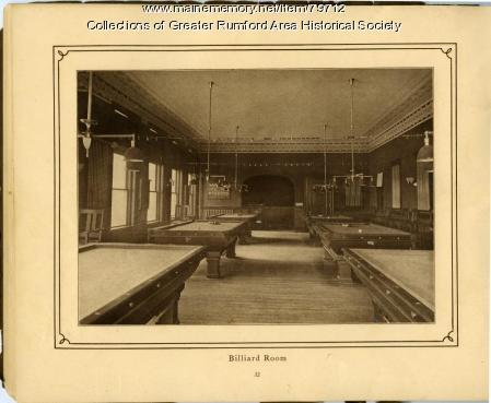 Billiard Room, Mechanics Institute, Rumford, 1911